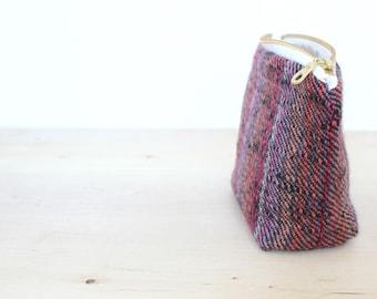 Small wool zip pouch purple striped tweed
