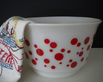 Hazel Atlas Red Polka Dot Punch Bowl • 1950s Vintage White Milk Glass Red Dots Extra Large Bowl • Holds 1 Gallon or 4 Quarts