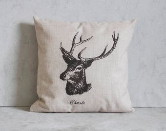 Deer Christmas Pillow Cover, Deer Pillow Cover, Pillow Covers, Throw Pillow, Christmas Throw Pillow, Decorative Pillow Cover