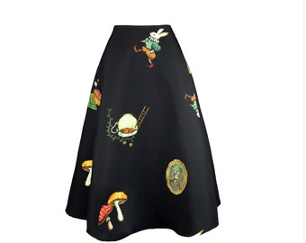 Once upon a time collection Alice's wonderland rabbit hole black skirt