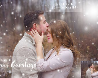 Snow Overlays for Photoshop, Realistic and Dreamy Overlays for Photographers, Snow Overlays With Instructions, Set of 6