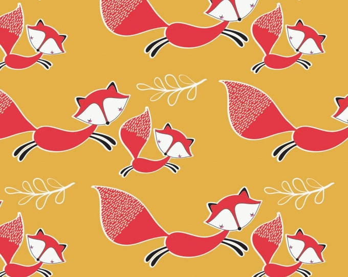 Camelot - Mama & Me - Foxes in Light Mustard - Cotton Woven Fabric