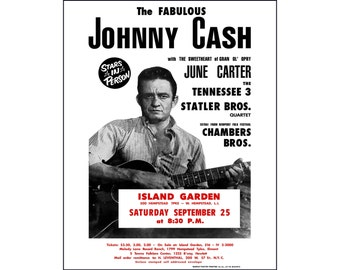 Johnny Cash poster print photo vintage concert poster June Cash Statler Brothers Johnny Cash art