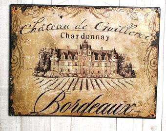 Metal advertising Bordeaux decorative plate