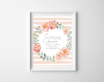 Printable - The 'Sienna' Wreath Floral Birth Announcement Poster | Gift | Nursery Art | Wall Art
