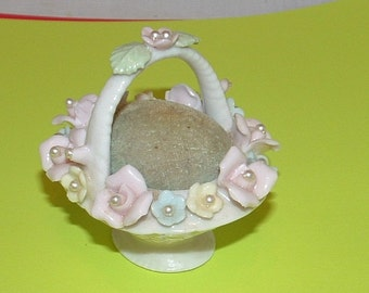 Porcelain Basket with Raised Flowers and Pearls Pincushion