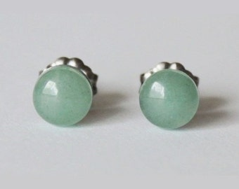 6mm Green Aventurine Studs, hypoallergenic Titanium earring, Cabochon Gemstone post studs, for sensitive ears, Green earrings, Green studs