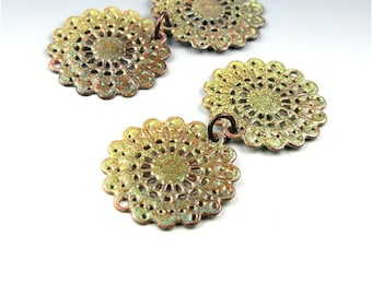 Enameled Round Filigree / Lime Green Enamel / Made to order