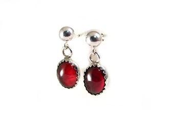 """RED GARNET oval drop lightweight simple 3/4"""" long .925 dangle earrings"""