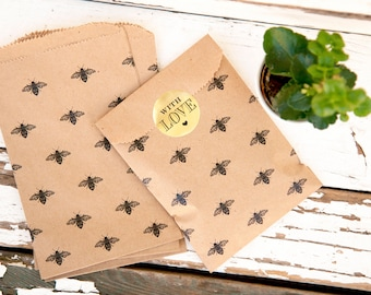 Kraft Brown Bee Bags - Wedding, Birthday, Baby, Party Favor Bag - Bumble Bee Design - Small Paper gift bags -  10 pack
