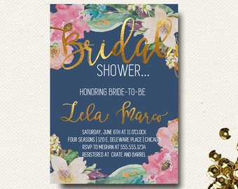 Bridal Shower Invitation | Wedding Shower Invitations | Navy Blue Floral Gold Watercolor Invite | Template Printable