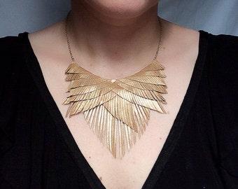 Honey gold leather fringe necklace