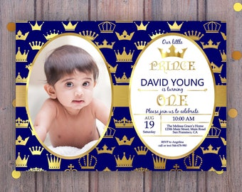 Prince Birthday Invitation. Gold Crown. Prince Birthday. Prince invite with/without photo. Any Age. Any color. Printable Digital