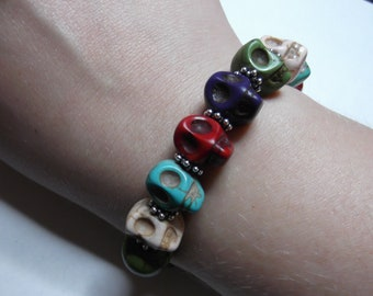 Spinning Skulls Day of the Dead Bracelet - Sugar Skull, Dia de los Muertos, Loteria