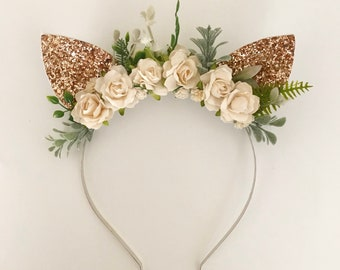 Rose Gold and floral Cat Ears | Cat Ears Headband | Ears Headband | Cat Heaband