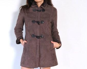 Faux suede coat, vegan lammy coat, duffle coat