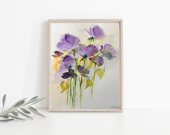Original watercolor watercolor painting picture meadow flowers abstract flowers/CA 9.5 inches x 12.6 inches (24 x 32 cm)