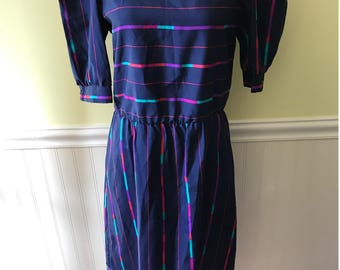 Vintage 80's Navy Blue Striped Dress