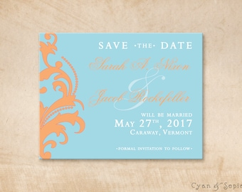 Tangerine Flourish - Wedding Save the Date Design - 4x5 Postcard - Classic Modern - Aqua Blue Orange Pink