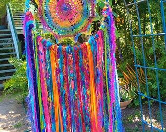 Rainbow Tie Dye Hippie Festival Dreamcatcher Bohemian Bedroom Decor Wall Hanging