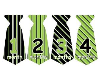 12 Pre-cut Monthly Baby Milestone Waterproof Glossy Stickers - Neck Tie Shape - Design T008-07