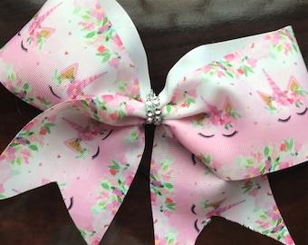 Unicorn large cheer bow on ponytail elastic