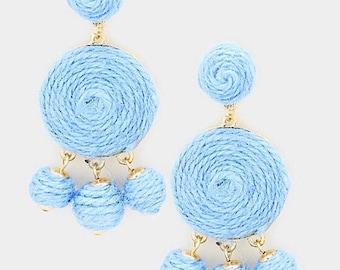 Blue Triple Thread Ball Dangle Earrings