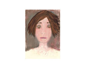 shy woman portrait painting grey blush brown face Artwork unique modern contemporary on paper Original Wall art Gift for women sister mum
