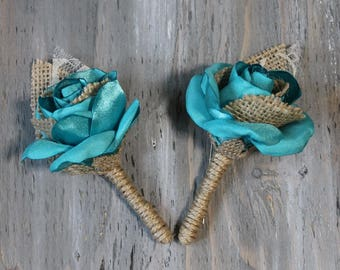 Turquoise Wedding Boutonniere Groom Boutonniere Groomsmen Boutonniere Beach Wedding Boutonniere Turquoise Boutonniere Wedding Accessories