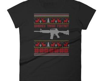 Whiskey Tango Foxtrot Women's Short Sleeve T-shirt - Funny Ugly Christmas Sweater Shirt - Christmas T-Shirts - Christmas Eve Attire