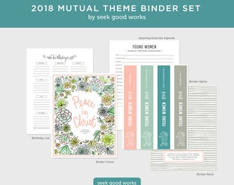 LDS Young Women Theme 2018- Mutual Theme  - Peace in Christ - Binder Set - Young Women