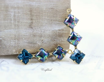 AB Dark Blue & Indicolite Swarovski Crystal Vintage Glass Square Stone in 1 Ring 3 Stones Ox Antiqued Brass Settings 30x8mm - 2