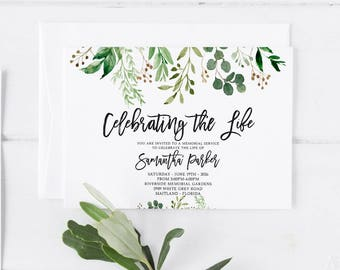 Memorial service etsy greenery funeral announcement invitation mourning invitation cards memorial service in loving memory funeral editable template stopboris Gallery