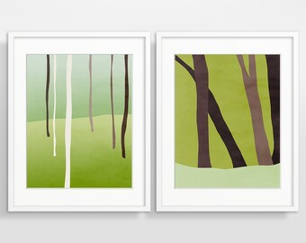 Forest Prints Wall Art Set of 2 Prints Scandinavian Art Woodland Nursery Wall Art Minimalist Art Nordic Art Modern Nursery Art Wall Decor