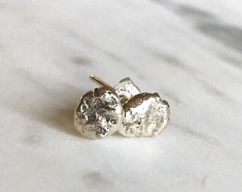 Sterling silver studs, gold and silver studs, organic studs, handmade studs, silver earrings
