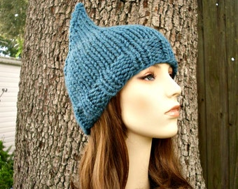 Knit Hat Womens Hat - Teal Blue Gnome Hat Teal Blue Knit Hat - Teal Hat Blue Hat Teal Beanie Blue Beanie Womens Accessories Winter Hat