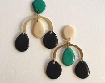 Chandelier earrings, Chunky earrings, Asymmetrical Earrings, Large earrings, Mismatched earrings, Contemporary jewelry ,Statement chandelier