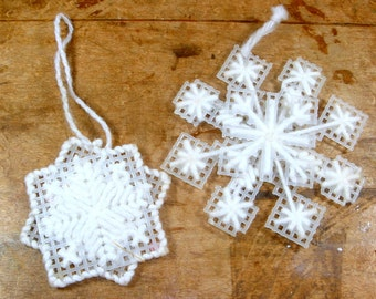 Vintage Needlecraft Snowflakes, Christmas Ornaments, Holiday Decor, White, Handcrafted with Yarn and Plastic Canvas, 1970's (7825)