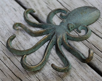 Octopus Jewelry Display - Wall Hook, Cast Iron Wall Hook, Jewelry Storage, Beach Decor, Nautical Decor, Mother's Day Gift, Necklace Holder