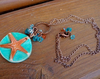 Polymer Clay Necklace; Summer Starfish Necklace; summer necklace; starfish necklace; sea star necklace; ocean necklace