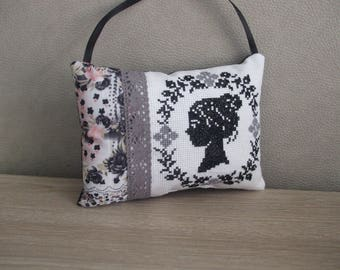 Shabby chic cameo profile romantic woman cross stitch Embroidery pillow