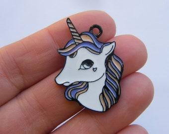 2 Unicorn charms black tone A923