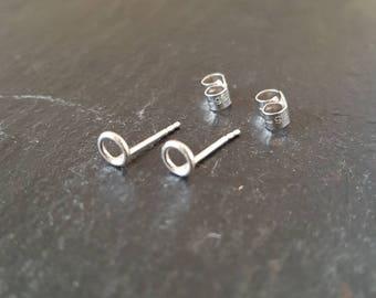 Tiny silver circle studs, mini silver circle earrings, mini silver circle studs, tiny silver open studs, minimal circle studs, silver studs