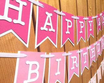 custom pink ombre birthday banner, custom banner, birthday banner, party decorations, party banner, happy birthday, 1st birthday, birthday