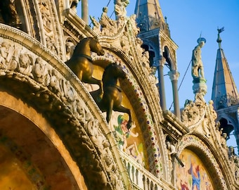 Italy photography - Saints in the Piazza II - Venice, Italy - Fine art travel photography - blue, gold, bronze