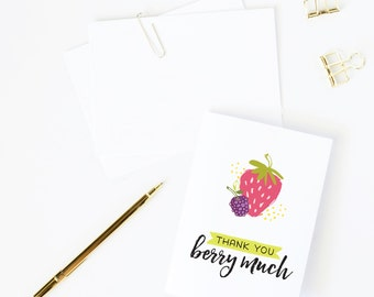 Thank You Card // Thank You Berry Much// Just Because Card // Love Card // Food Pun // Berry Card // Thinking Of You // The Busy Bee