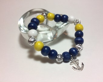 Hope - wood beads in your chosen colors with a beautiful silver anchor charm