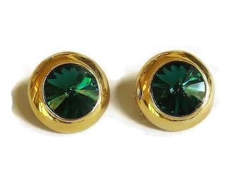 Rivoli Rhinestone Headlight Button Earrings Emerald Green Vintage