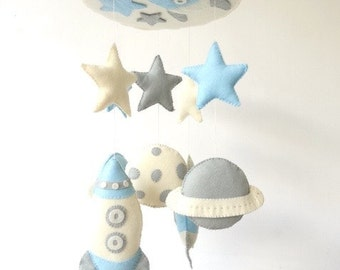 Planets Mobile, Baby Mobile, Baby Crib Mobile, Solar System Earth Moon Saturn, Rocket Ship Mobile, Planets Nursery Decor, Outer space mobile