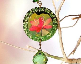 Peridot Green Crystal Orb Sun Catcher, Christmas Ornament, 1S-5